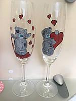 Свадебные бокалы с рисунком мишки Тедди