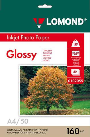 Односторонняя глянцевая фотобумага для струйной печати, A4, 160 г/м2, 50 листов