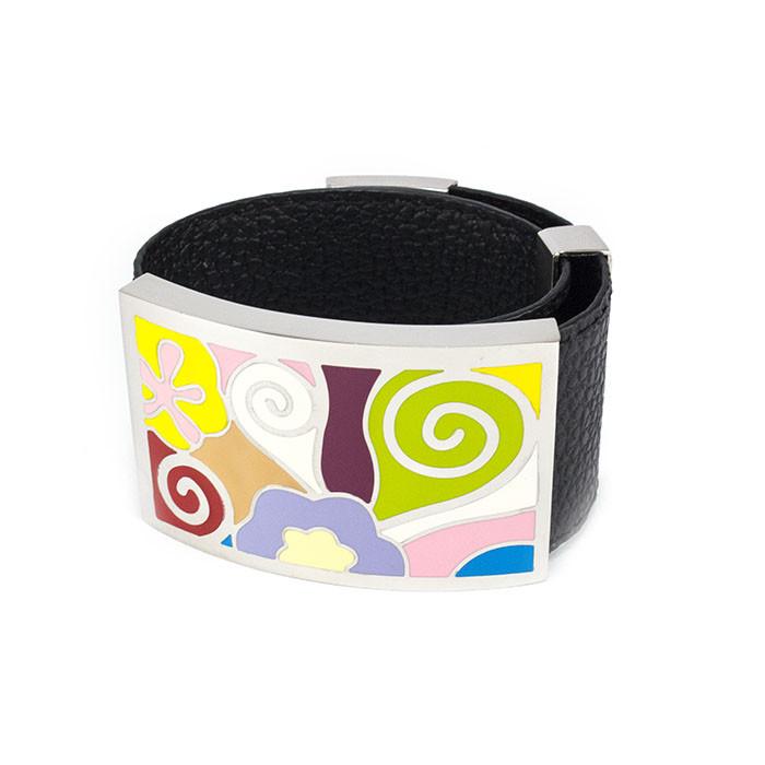 Кожаный браслет широкий с разноцветными вставками Арт. BS029LR