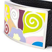 Кожаный браслет широкий с разноцветными вставками Арт. BS029LR, фото 3