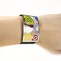 Кожаный браслет широкий с разноцветными вставками Арт. BS029LR, фото 4