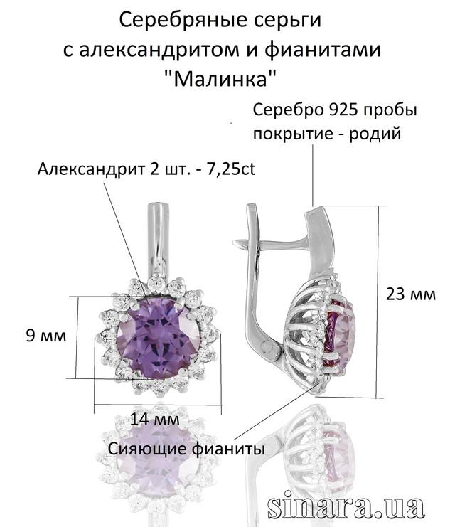 Серебряные серьги c александритом Малинка 1 фото