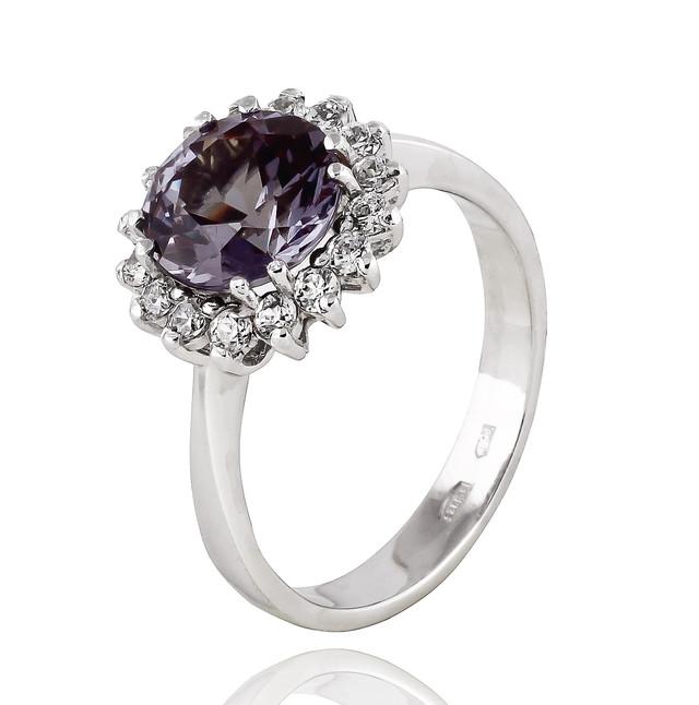 Серебряные кольцо c александритом Малинка 3 фото