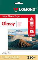 Односторонняя глянцевая фотобумага для струйной печати, A5, 230 г/м2, 50 листов