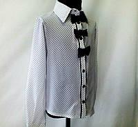 """Нарядная блузка """"Соло"""" (креп-шифон) для девочек 6-13 лет (р.32-42)."""