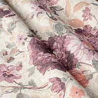 """Ткань """"Молена"""" с фиолетовыми цветами для тюли"""
