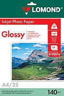 Односторонняя глянцевая фотобумага для струйной печати, A4, 140 г/м2, 25 листов