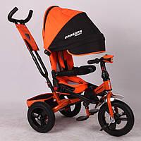 НАДУВНЫЕ КОЛЕСА Трехколесный велосипед-коляска Azimut Crosser T-400 оранжевый