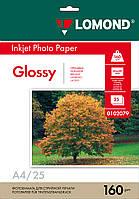 Односторонняя глянцевая фотобумага для струйной печати, A4, 160 г/м2, 25 листов