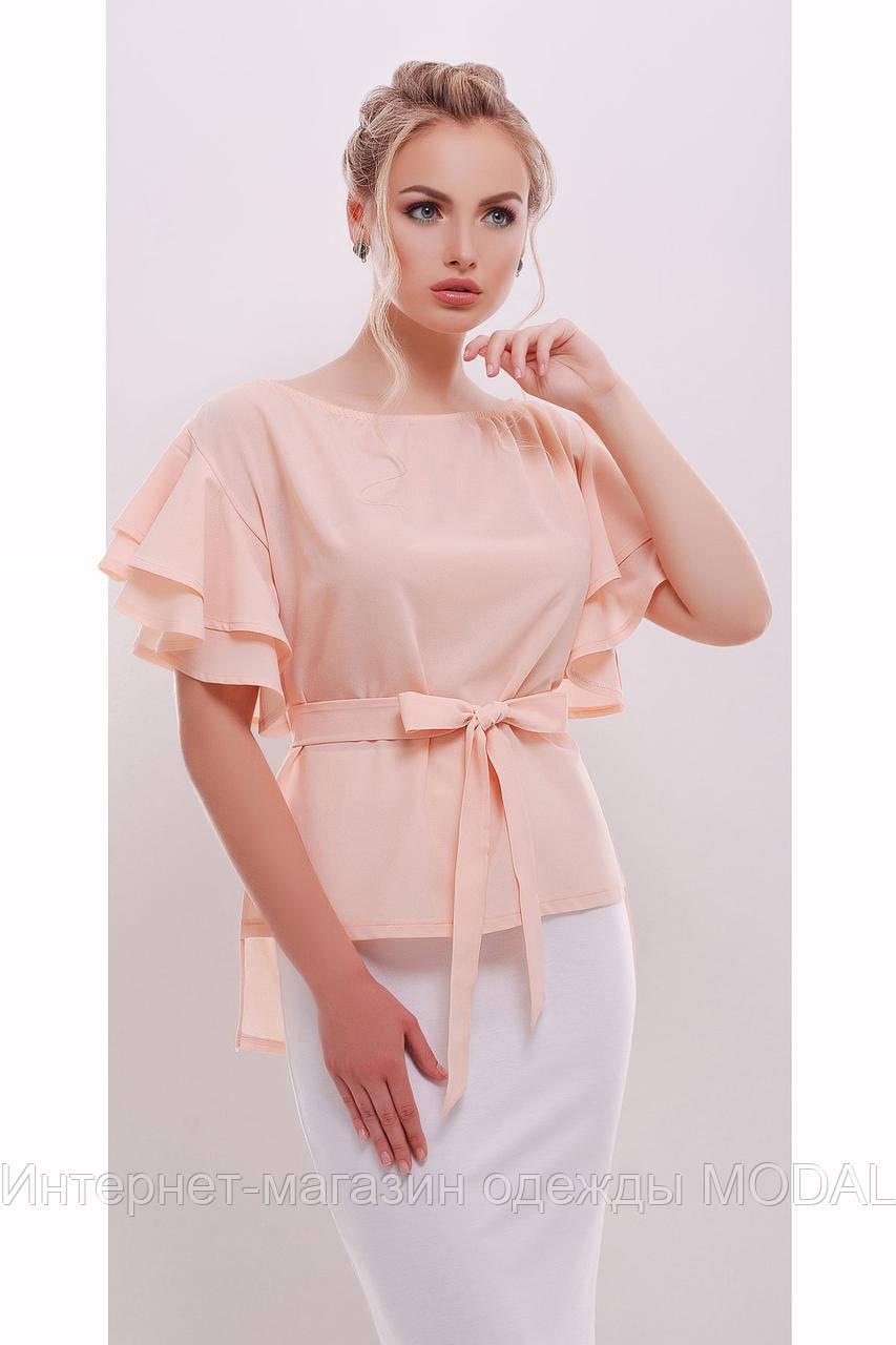 cdc2d48314d Персиковая блузка с воланами на рукавах  продажа