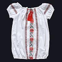 Белая блузка вышиванка с коротким рукавом