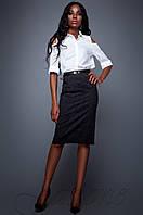 Классическая стильная черная юбка-карандаш Лакки Jadone Fashion 42-48 размеры