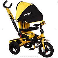 НАДУВНЫЕ КОЛЕСА Трехколесный велосипед-коляска Azimut Crosser T-400 желтый