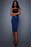 Классическая стильная темно-синяя юбка-карандаш Лакки Jadone Fashion 42-48 размеры
