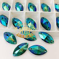 Пришивные лодочки (синтетич.стекло)  Цвет Emerald  AB 9x18*1шт
