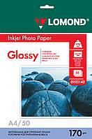 Односторонняя глянцевая фотобумага для струйной печати, A4, 170 г/м2, 50 листов