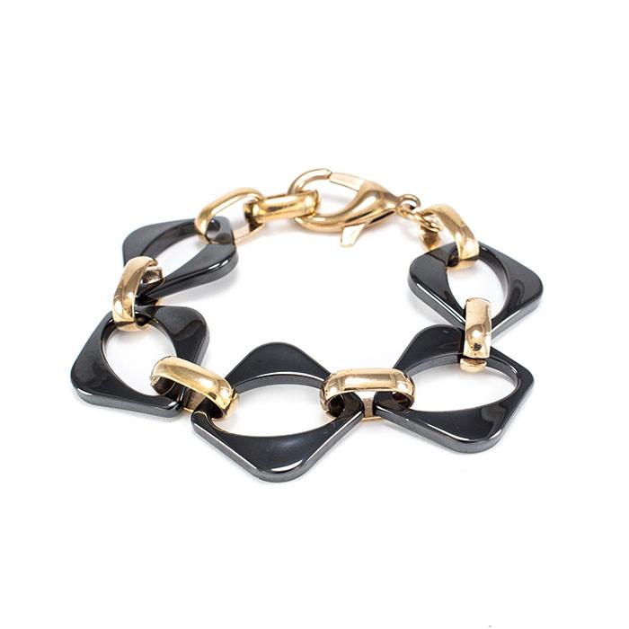 Керамический браслет Ромб черный розовое золото Арт. BS018CR