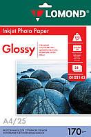Односторонняя глянцевая фотобумага для струйной печати, A4, 170 г/м2, 25 листов