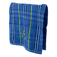 Махровое кухонное полотенце Подсолнух синее
