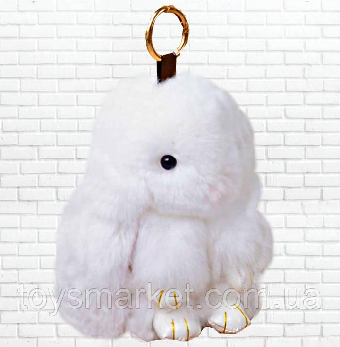 Детская мягкая игрушка,зайка,пушистый брелок,белый