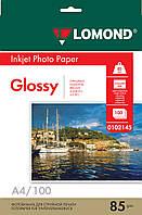 Односторонняя глянцевая фотобумага для струйной печати, A4, 85 г/м2, 100 листов