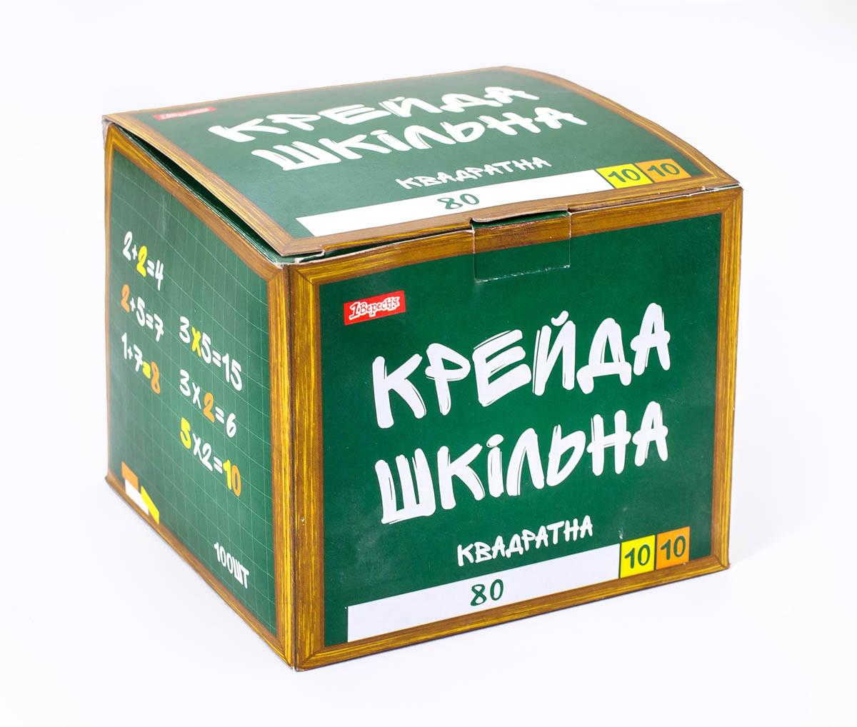 """Мел квадратний """"Школьный"""" 100 шт. белый и цветной 12х12мм"""