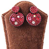 Сережки-гвоздики с красными кристаллами