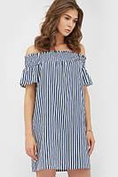 Літнє лляне синє плаття в смужку Riddy