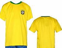 Детская (5-10 лет) футбольная форма без номера - сборная Бразилии (2014) - желто-синяя, основная