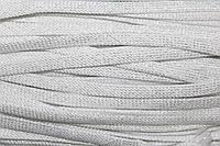 Шнур плоский 8мм (100м) белый + серебро