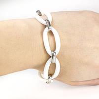 Керамический браслет с крупными овальными звеньями белый Арт. BS020CR, фото 4