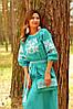 Красивое вышитое платье в пол с рукавом 3/4 (П34-271)