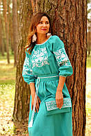 Красивое вышитое платье в пол с рукавом 3/4 (П34-271), фото 1