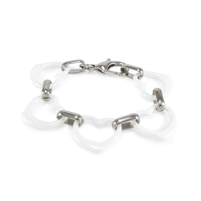 Керамический браслет Сердечки белый Арт. BS023CR
