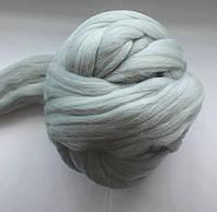 Шерсть овечья для валяния. 50г. Цвет: Серебро. 25-26 мкрн. Топс. Гребенная лента.