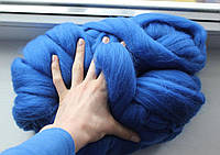 Толстая, крупная пряжа 100% шерсть 1кг (40м). Цвет: Василек. 25-29 мкрн. Топс. Лента для пледов