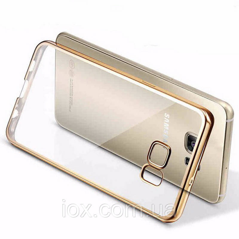 Силіконовий чохол з золотистим обідком для Samsung Galaxy S6 Edge