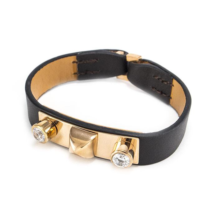 Кожаный браслет с металлической вставкой и двумя фианитами Арт. BS049LR