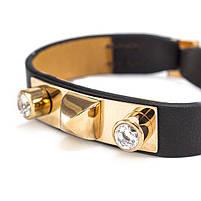 Кожаный браслет с металлической вставкой и двумя фианитами Арт. BS049LR, фото 2