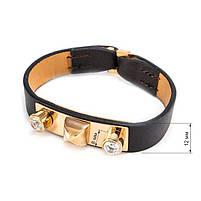 Кожаный браслет с металлической вставкой и двумя фианитами Арт. BS049LR, фото 3