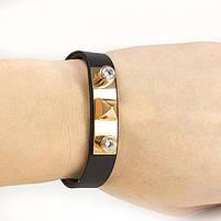 Кожаный браслет с металлической вставкой и двумя фианитами Арт. BS049LR, фото 4