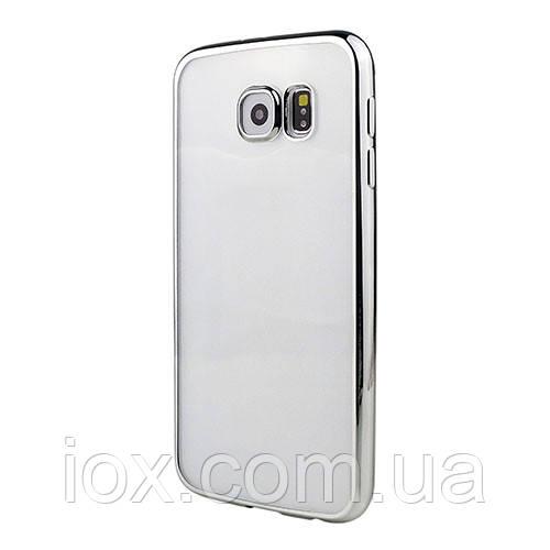 Силиконовый чехол с серебристым ободком для Samsung Galaxy S6 Edge