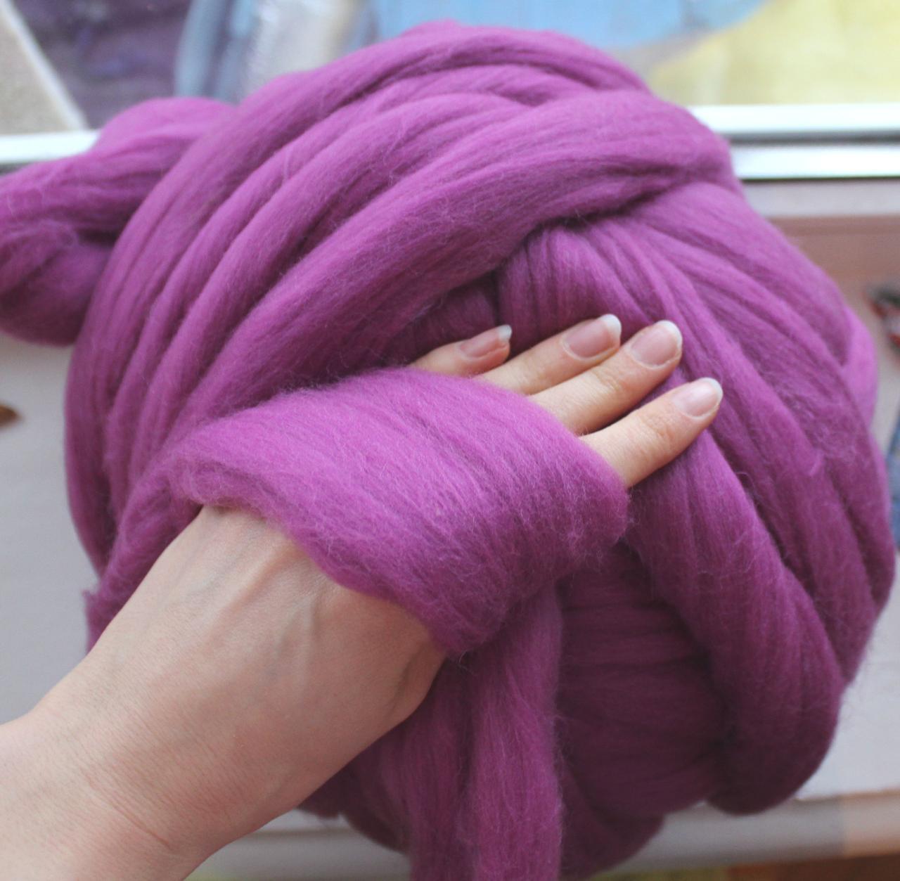Толстая, крупная пряжа 100% шерсть 100г (4м). Цвет: Сирень. 25 мкрн. Топс. Лента для пледов