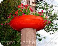 """Вазон на столб, фонарь сборной  Ф900 мм """"Зеленый"""" уличные горшки (Термочаша двойные стенки) для цветов."""