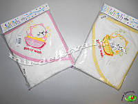 """Полотенце для купания для новорожденных """"Котик"""", Турция, оптом (молочный с розовым)"""