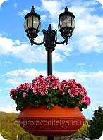 """Вазон на столб, фонарь сборной  Ф750 мм """"Песчаник"""" уличные  (Термочаша двойные стенки) для цветов."""