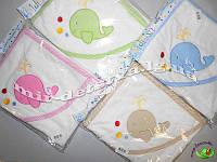 """Полотенце для купания для новорожденных """"Кит"""", Турция, оптом ост.1 шт молочный с розовым"""