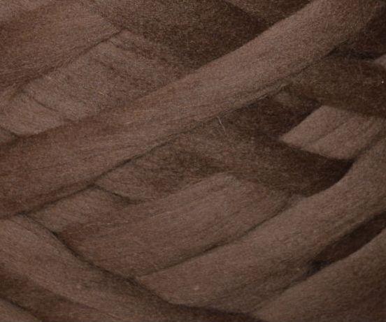 Товста, велика пряжа 100% вовна 100г (4м). Колір: Шоколад. 25 мкрн. Топсі. Стрічка для пледів
