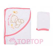 Полотенце махровое для купания, розовое 90х85 см