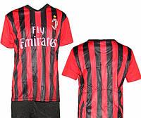 Детская (5-10 лет) футбольная форма без номера - ФК ''Милан'' (Милан) (2017/2018) - черно-красная, домашняя